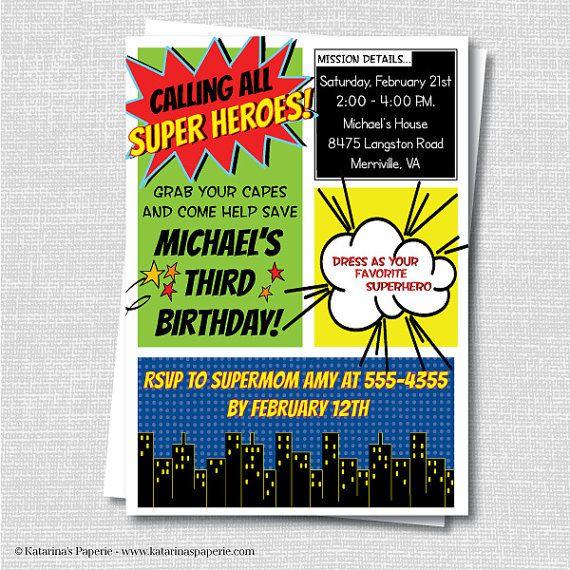 Custom Superhero Birthday Invitation