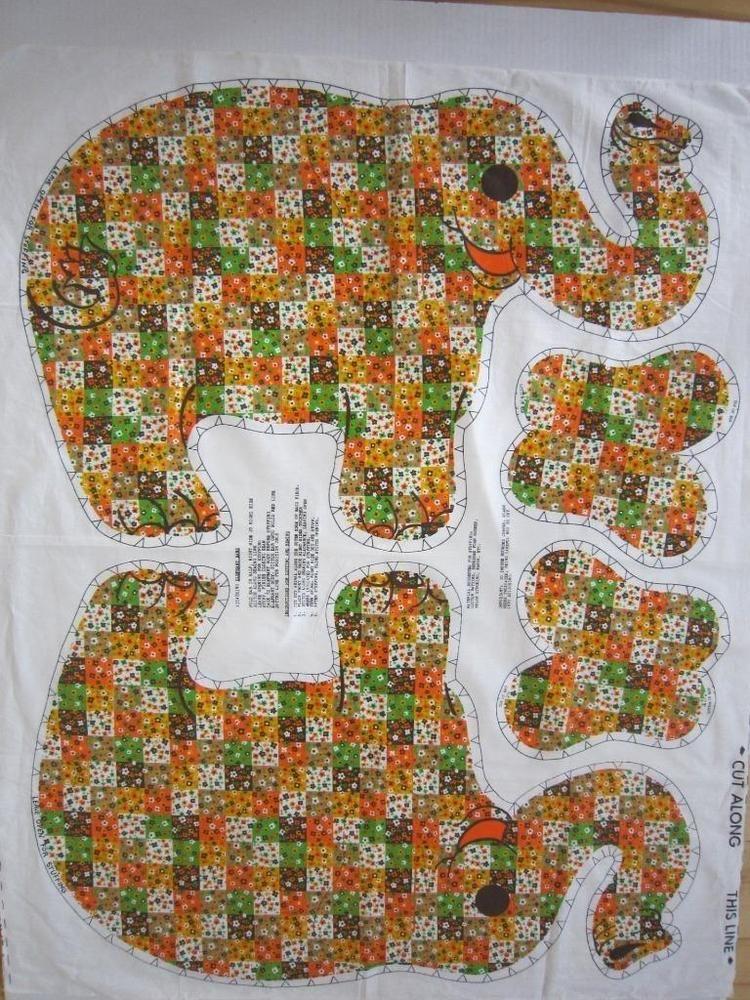 Vintage Large Elephant Stuffed Animal Fabric Panel New Stuffed