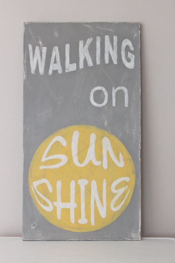 Wood Wall Art Vintage Style Walking On Sunshine Quote by InMind4U ...