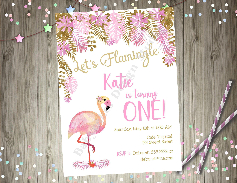 flamingo 1st birthday invitation etsy