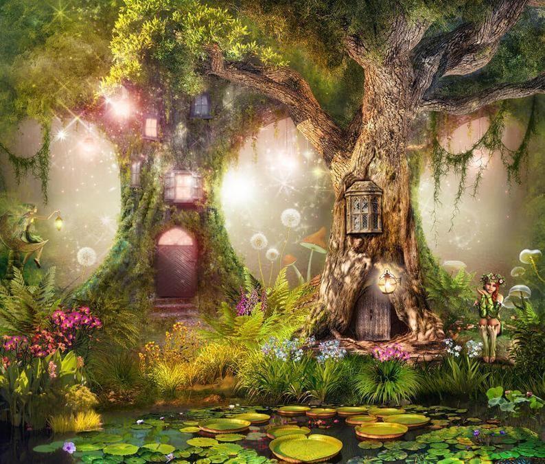 Wallpaper Kleber Vinyl Magische Wald Kindergarten Magischer Etsy Forest Backdrops Fairy Tale Forest Magical Forest