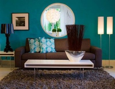Teal And Brown Living Room With Images Teal Living Rooms
