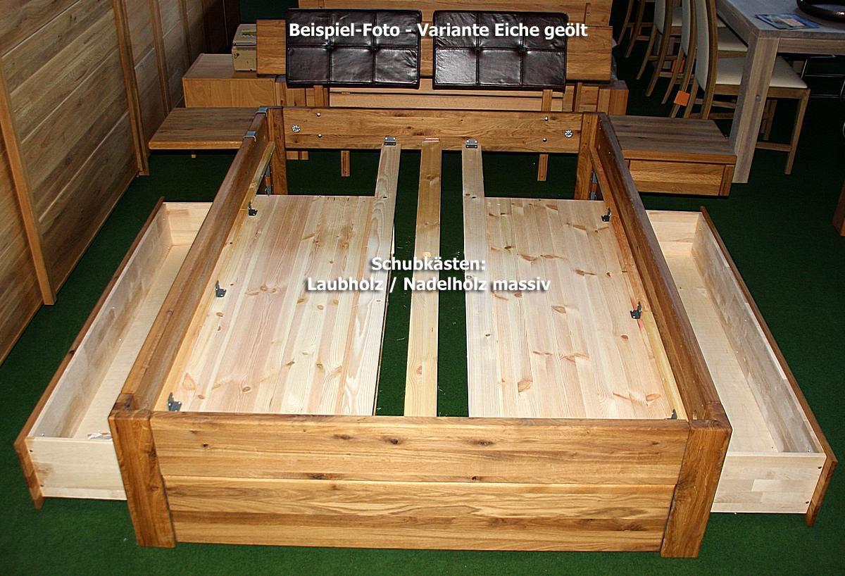 massivholz schubladenbett 180x200 holzbett bett eiche massiv ge lt in 2020 bed frame with