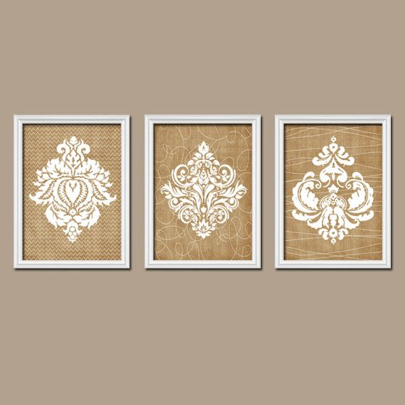 Country Wall Art damask bedroom pictures- canvas or prints- beige bathroom artwork