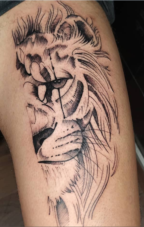 Rate This Half Lion Face Tattoo 1 To 100 Face Tattoo Face Tattoos For Men Celestial Tattoo