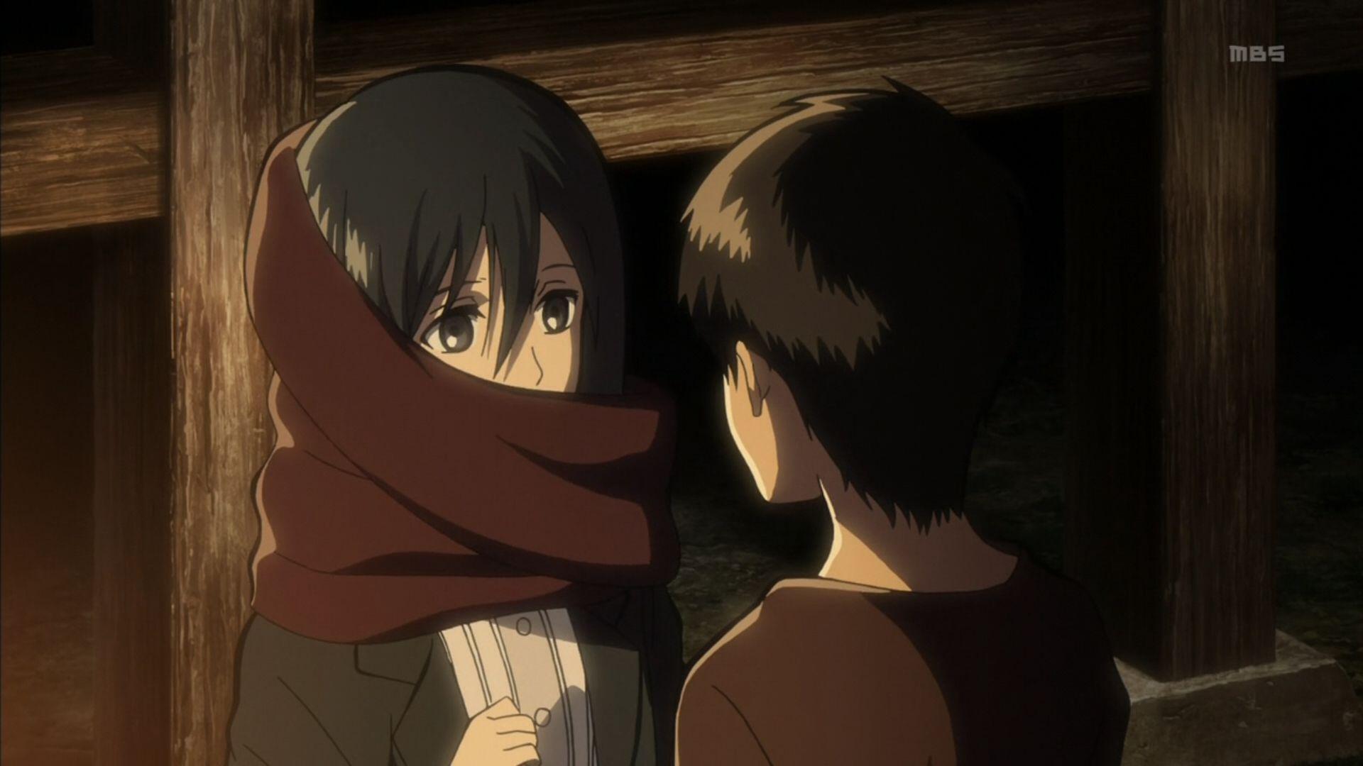 Eren and Mikasa. Oh my gosh I love this anime.