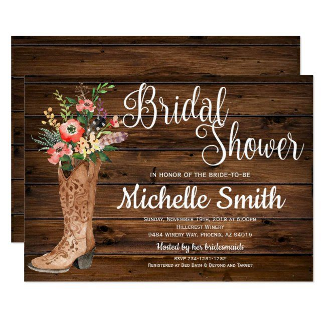 Rustic Boot Country Bridal Western Bridal Shower Invitation #rustic #invitation #western #wood #zgroupon #Invitation