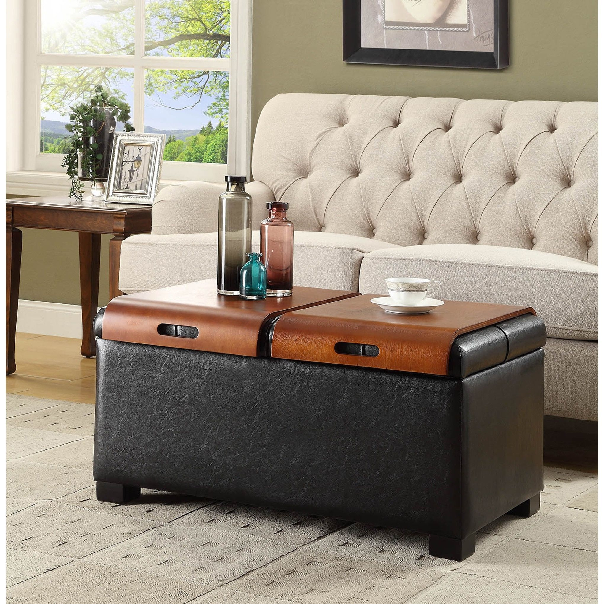 Pleasing Clay Alder Home Logan Storage Ottoman With Trays Black Short Links Chair Design For Home Short Linksinfo