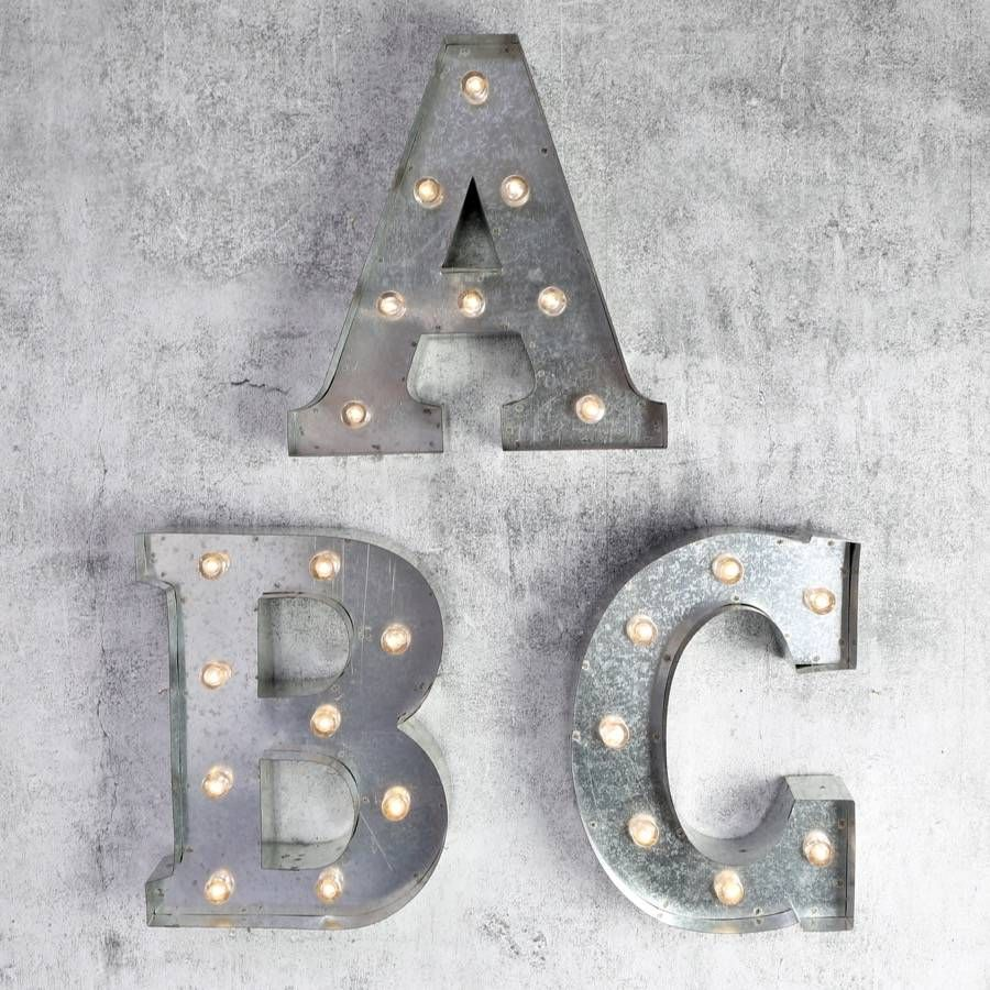 Industrial Style Light Up Letters: 12'' Industrial Metal Letter With LED Lights