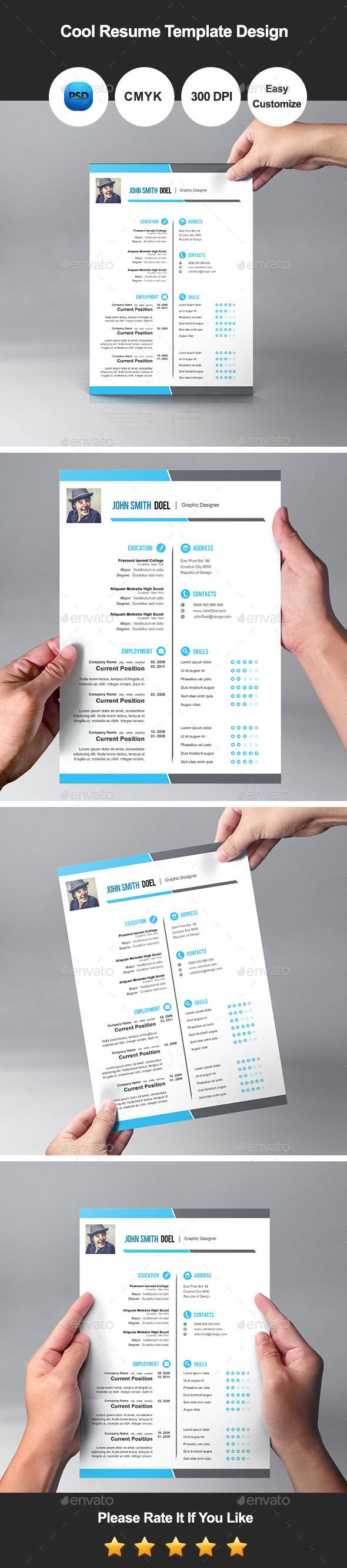 Premium Cool Resume Template Design  Design Resume Resume Cv And
