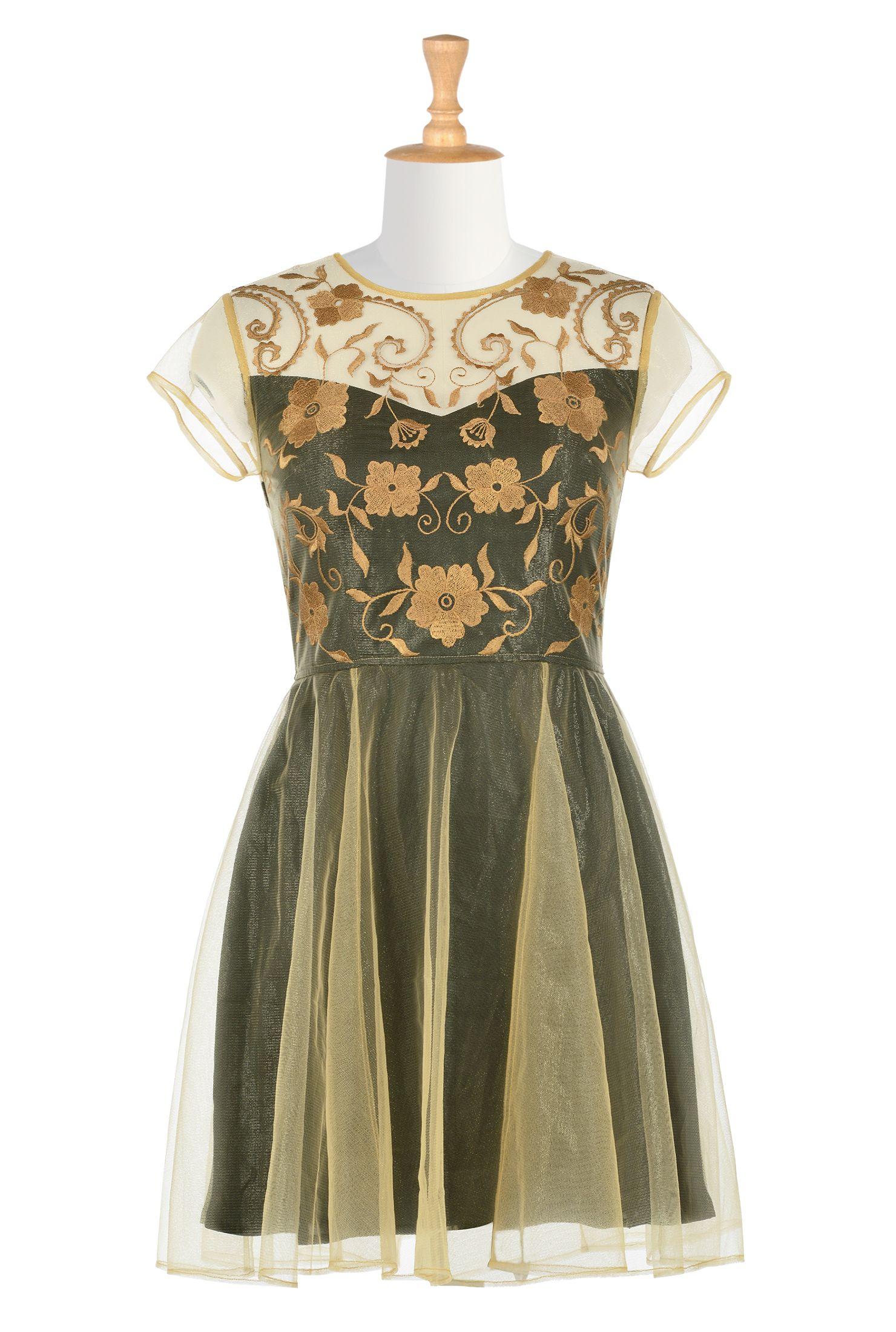70c39d964cf Floral Embellished Tulle Layer Dresses