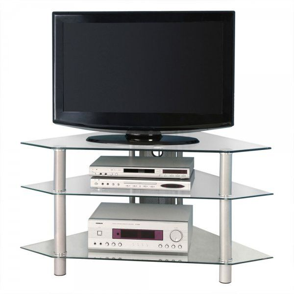 Bermuda Glass Corner Tv Stand With 3 Level Holds Up To 48 Plasma