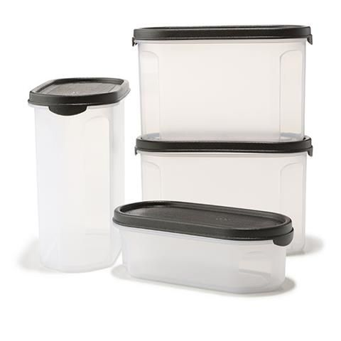 Set of 4 Plastic Pantry Storage Containers Rectangle Kmart