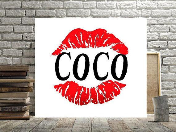 Coco Chanel Wall Art Red Lips Decor Print Or Canvas Black White