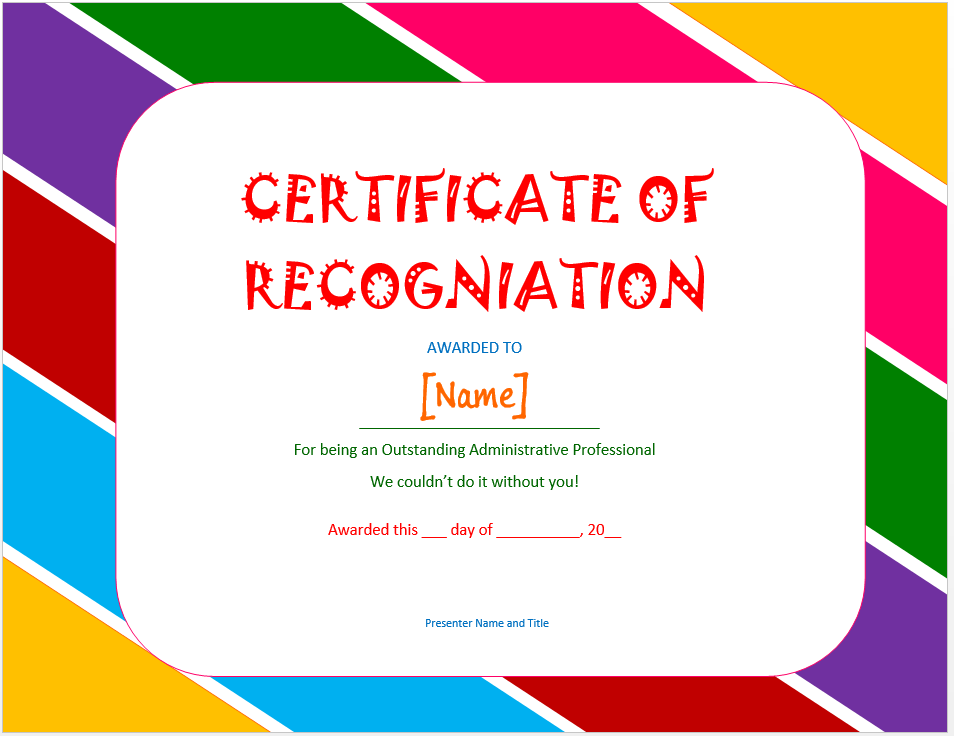 Certificate Of Recognition Template Official Templates Pinterest