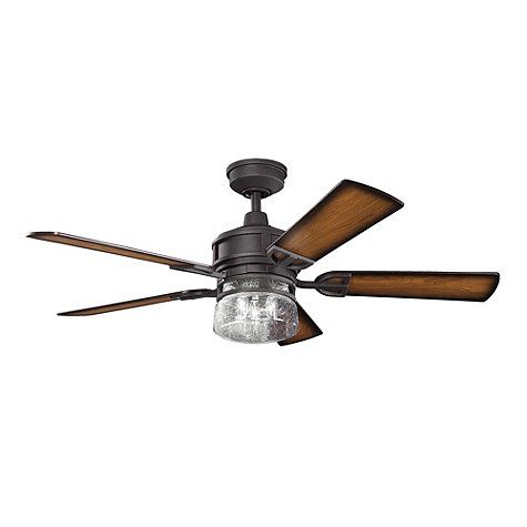 Kichler lighting lyndon distressed black downrod mount indoor ceiling fan with light kit and remote