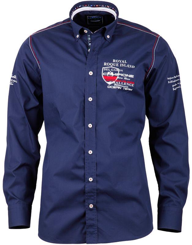 newest 7bb11 468fa Das marineblaue #Herrenhemd von CLAUDIO #CAMPIONE glänzt mit ...