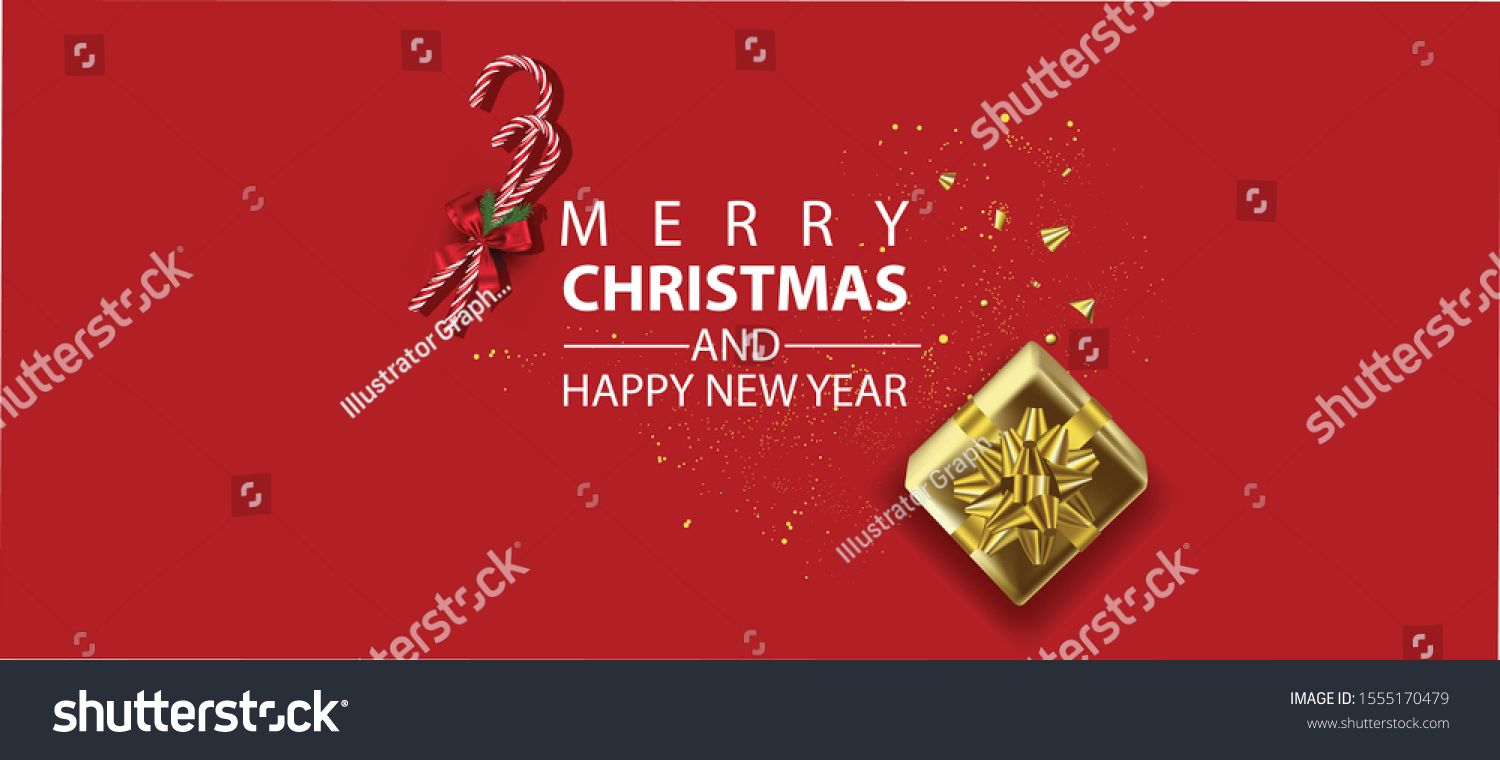 Horizontal Christmas And Happy New Year Banner Xmas Sparkling Lights Garland With Gifts Box Greeting Cards Header Happy New Year Banner New Year Banner Banner