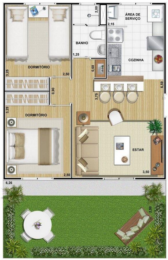 projetos apartamentos 50m2 - Pesquisa Google