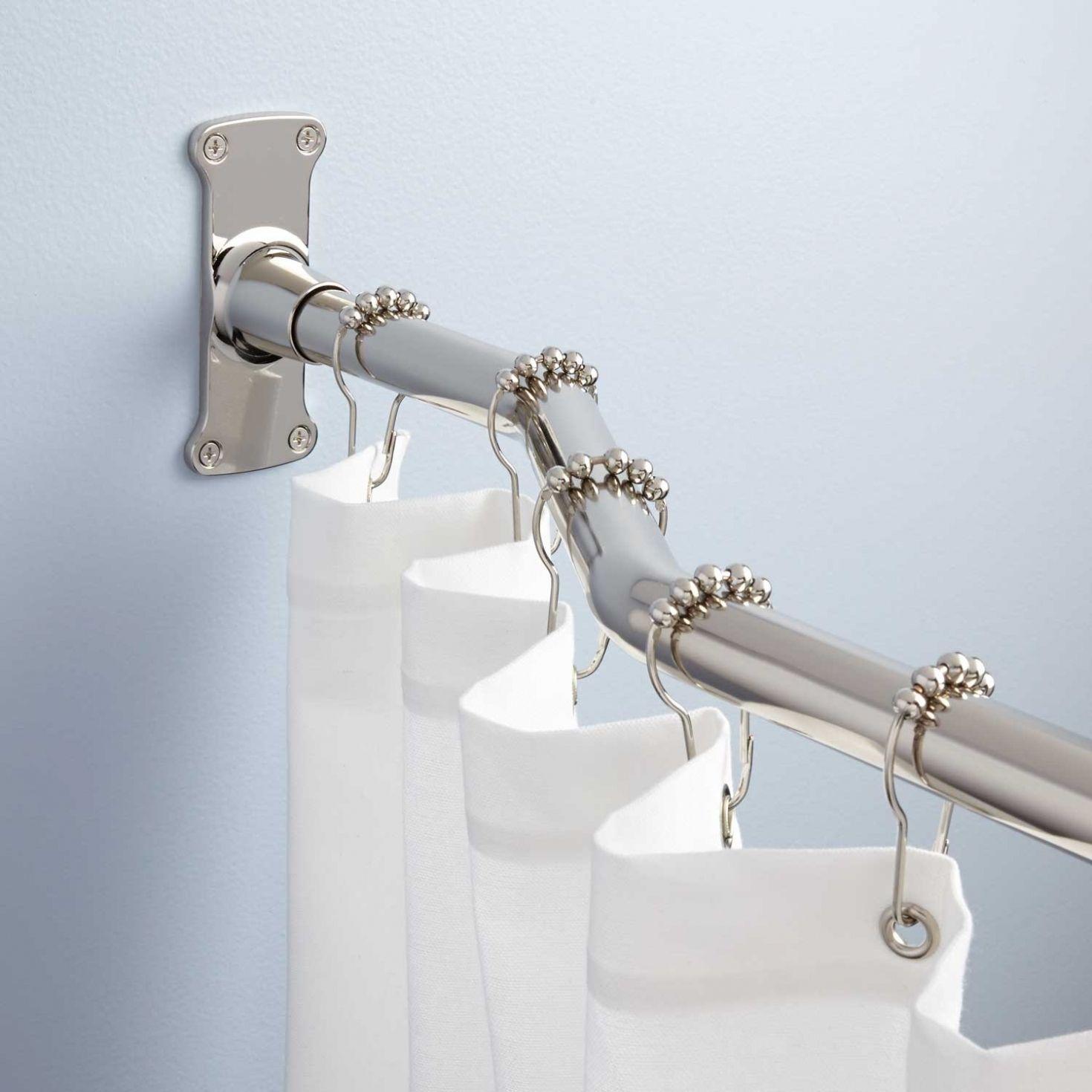 polished nickel shower curtain rod