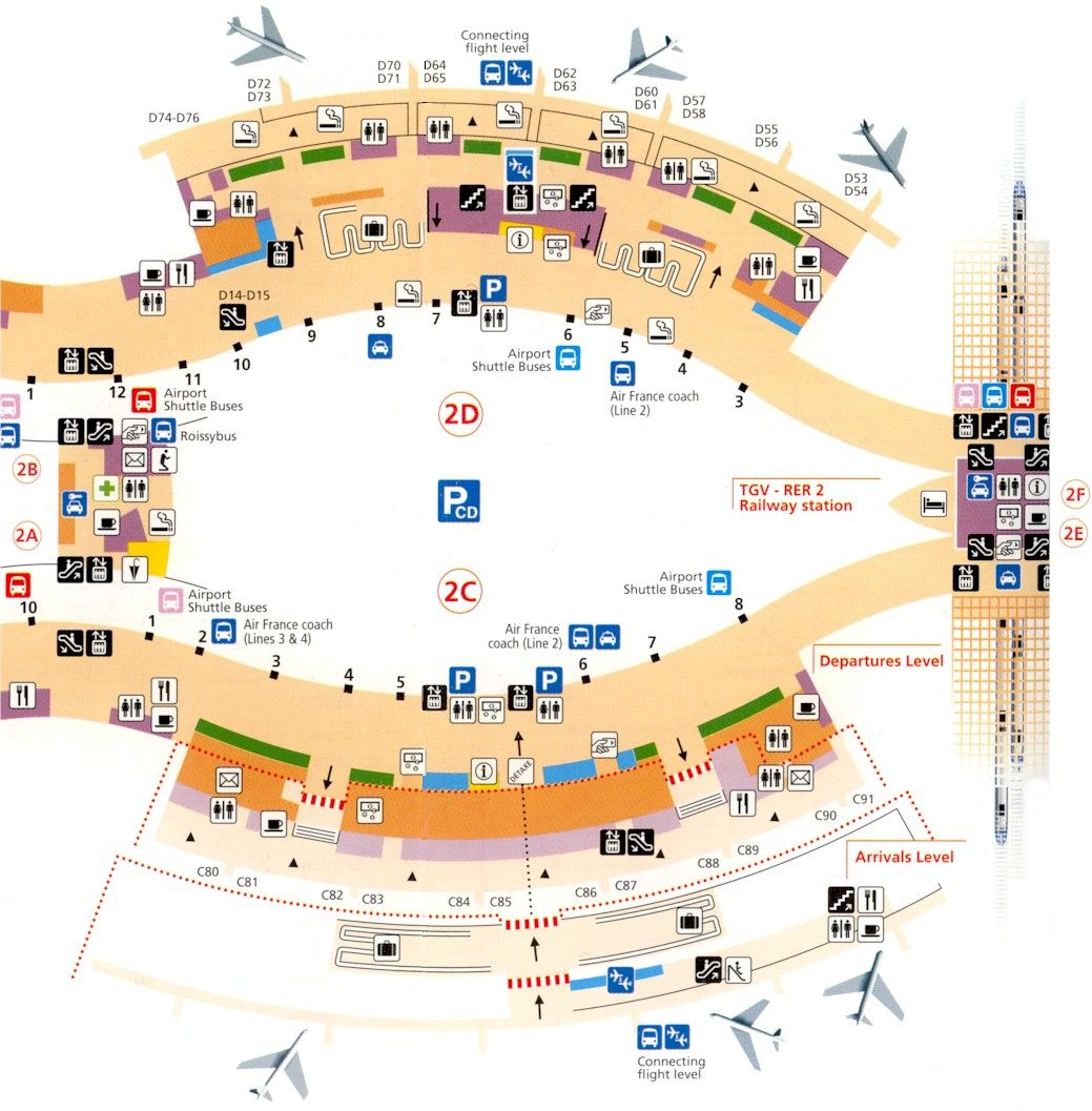 cdg terminal 2d map Paris Airports Charles De Gaulle Terminal 2c 2d Maps cdg terminal 2d map