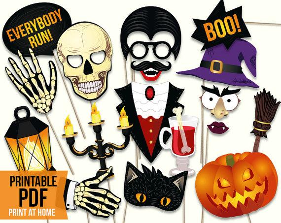 Halloween Photo Booth Props Pdf File Halloween Diy Paper Masks