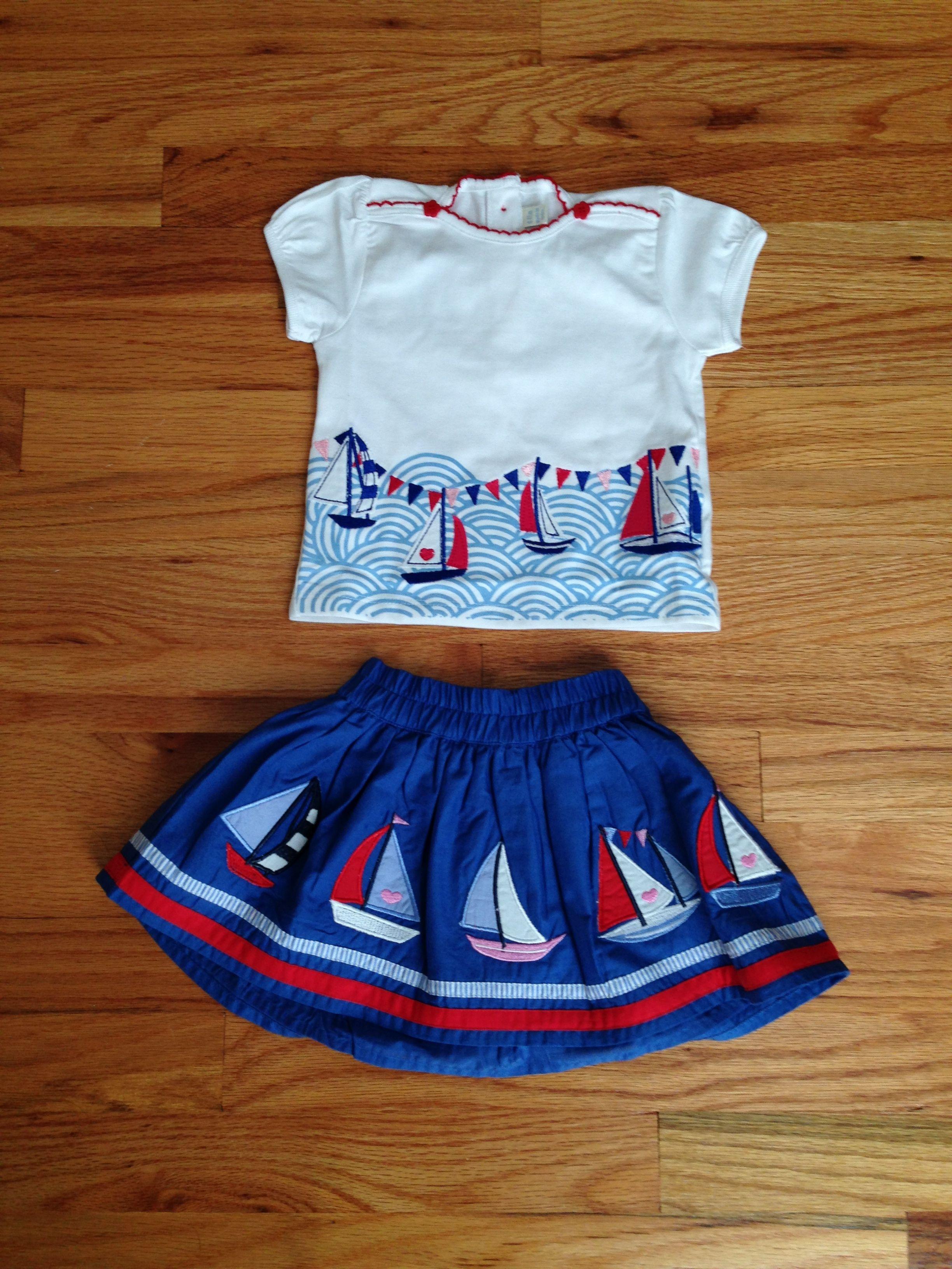 Girls Appliqued Nautical Shirt and Skirt