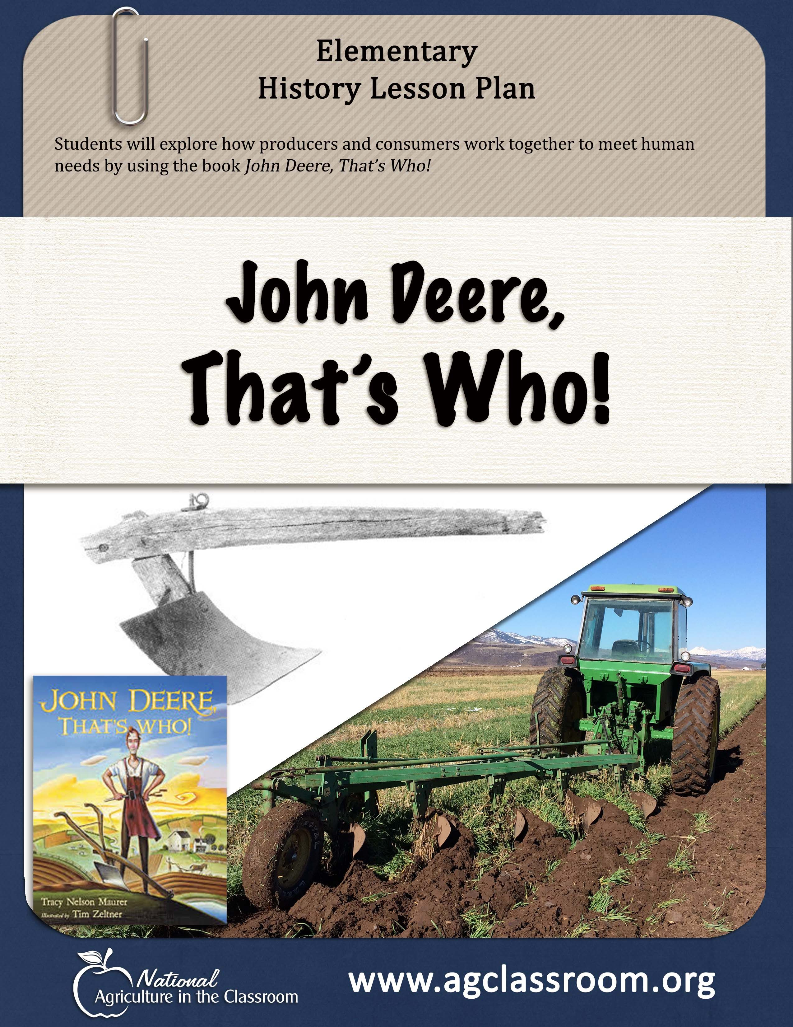 elementary lesson plan teaching about producers and consumers using john deere a blacksmith who invented the the first steel plow as an example  [ 2550 x 3300 Pixel ]