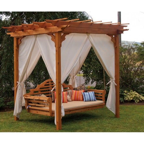 Pergola Curtains Ehpergolas Com Outdoor Bed Swing Cedar Pergola Pergola Swing
