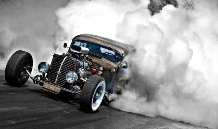 A little smoke won't hurt anyone. Rat Rod Hot rods, Hot