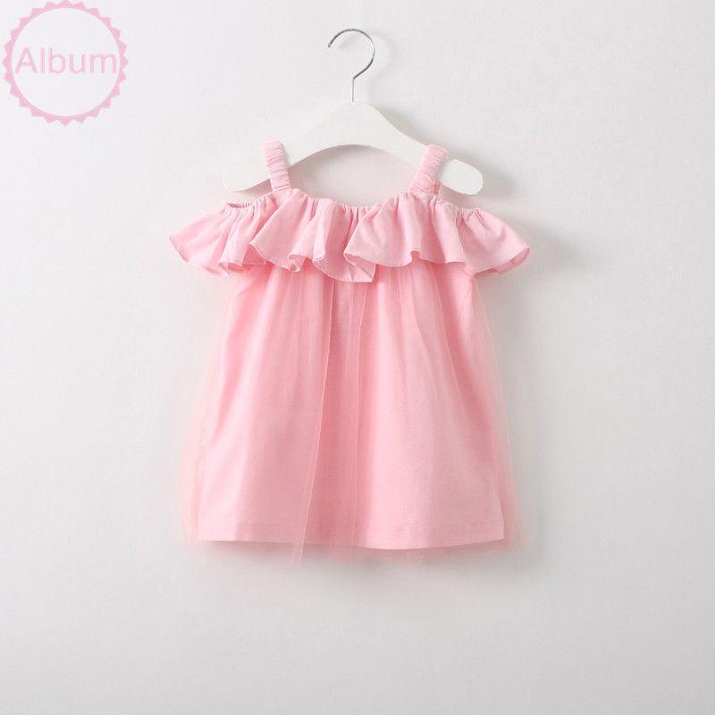 Summer kid girls sleeveless flouncing dress baby girls strap princess tulle solid dress children girls ruffle beach clothes
