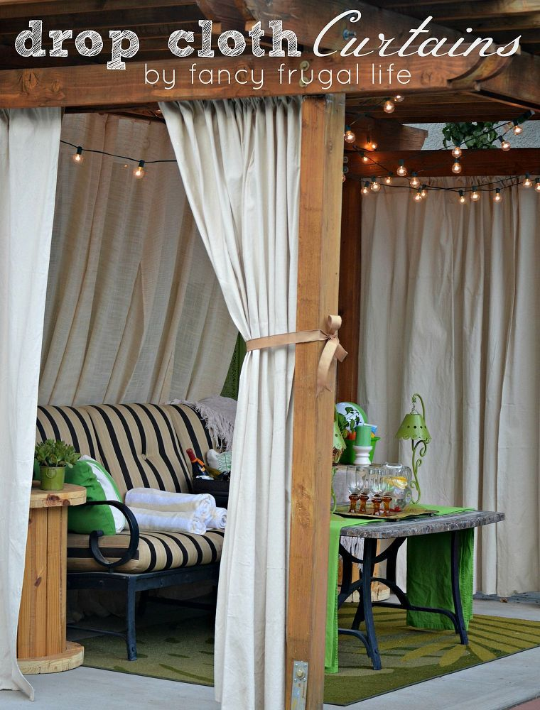 Drop Cloth Curtains U0026 Patio Makeover