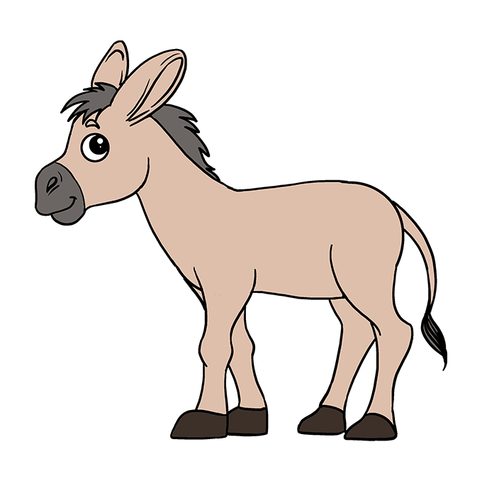 How To Draw A Donkey Really Easy Drawing Tutorial Easy Drawings Donkey Drawing Drawing Tutorial Easy
