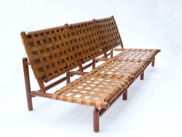 ilmari tapiovaara teak and leather sofa for la permanente. Black Bedroom Furniture Sets. Home Design Ideas
