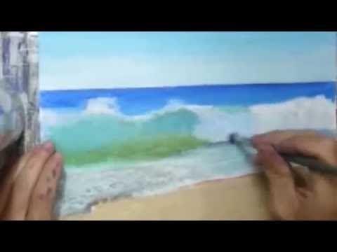 Peindre La Plage Tropicale Complet A L Acrylic Sur La Toile