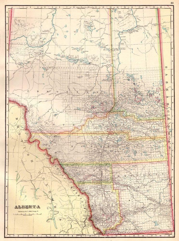 1911 Antique ALBERTA Canada Map Vintage Map of Alberta Canada Print ...