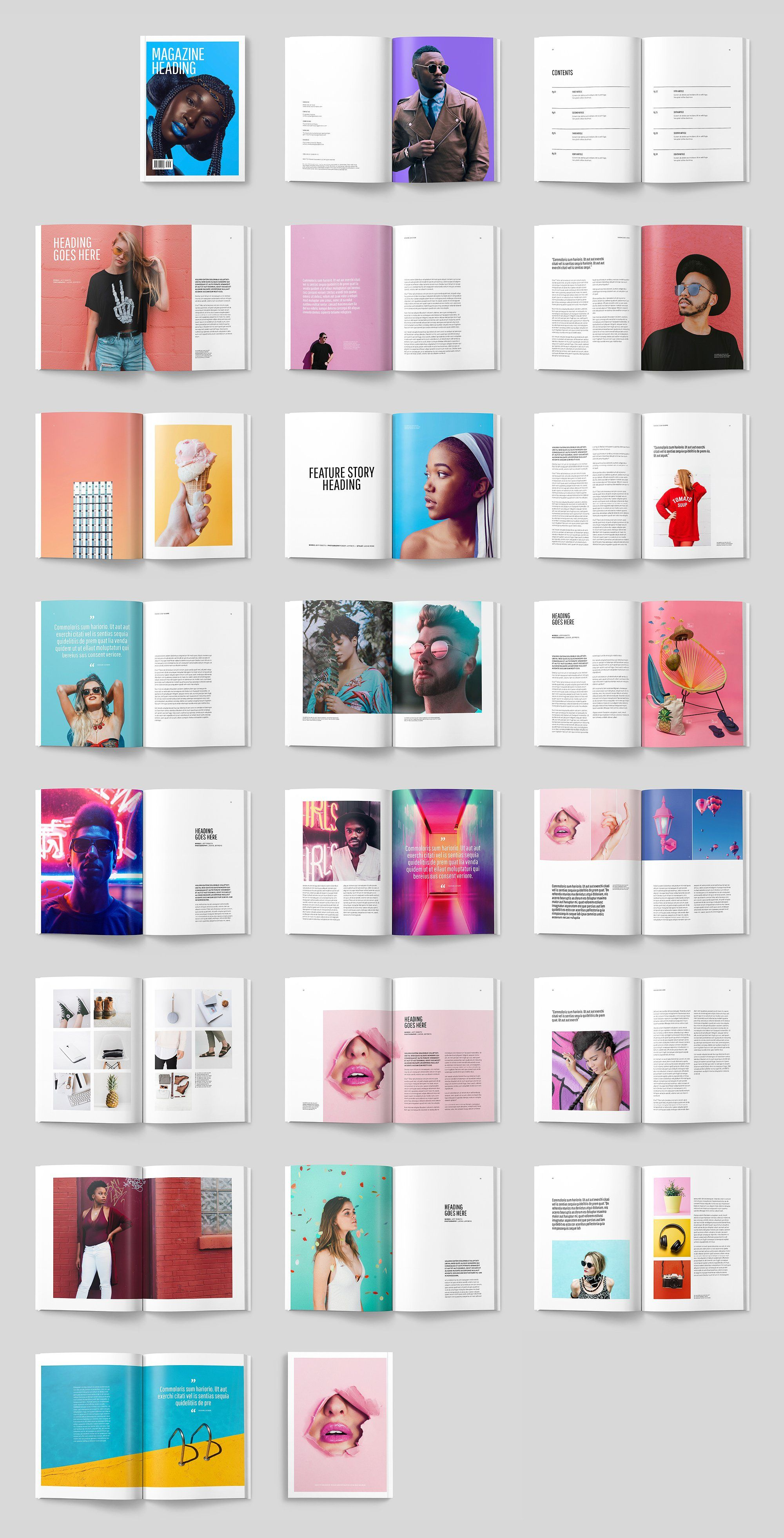 Colourful Modern Magazine by ThomasMakesStuff on Creative Market