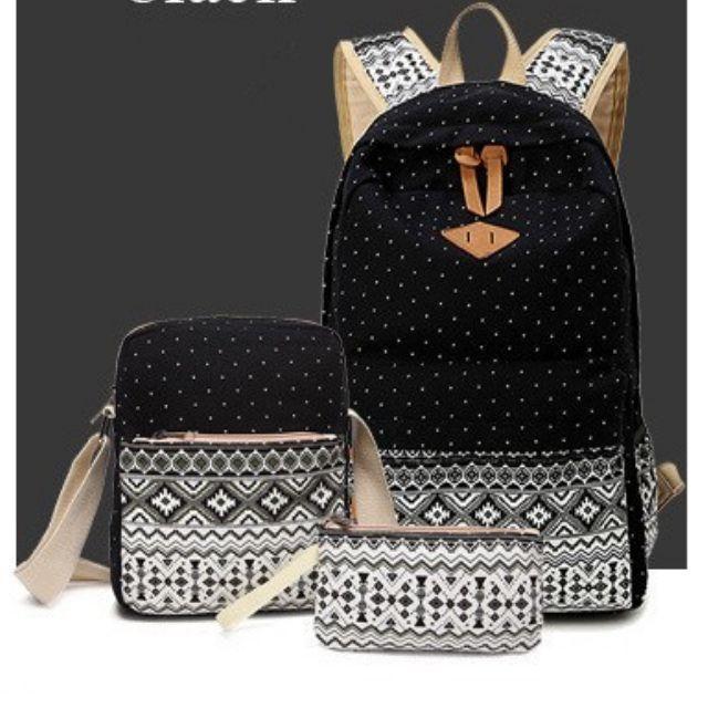 d031750de418 3 PCS Set Stylish Canvas Printing Backpack Women School Bags for Teenage  Girls Cute Bookbags Laptop Backpacks Female Bagpack