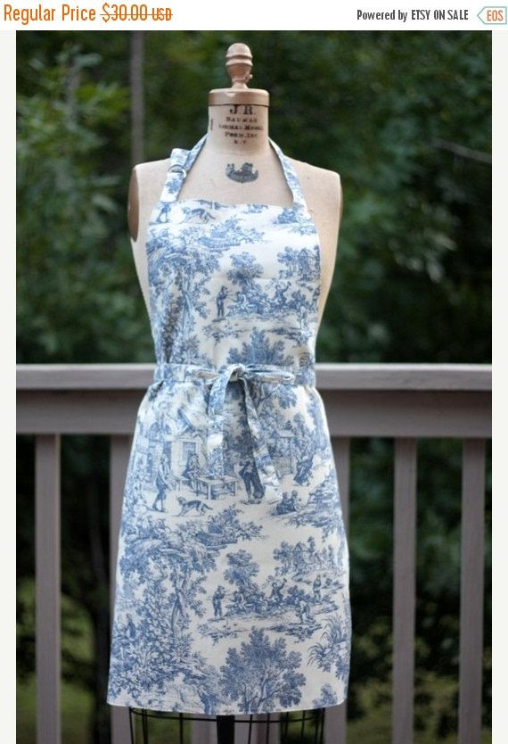 On Sale Apron full size blue white Toile by ChocolateDogStudio