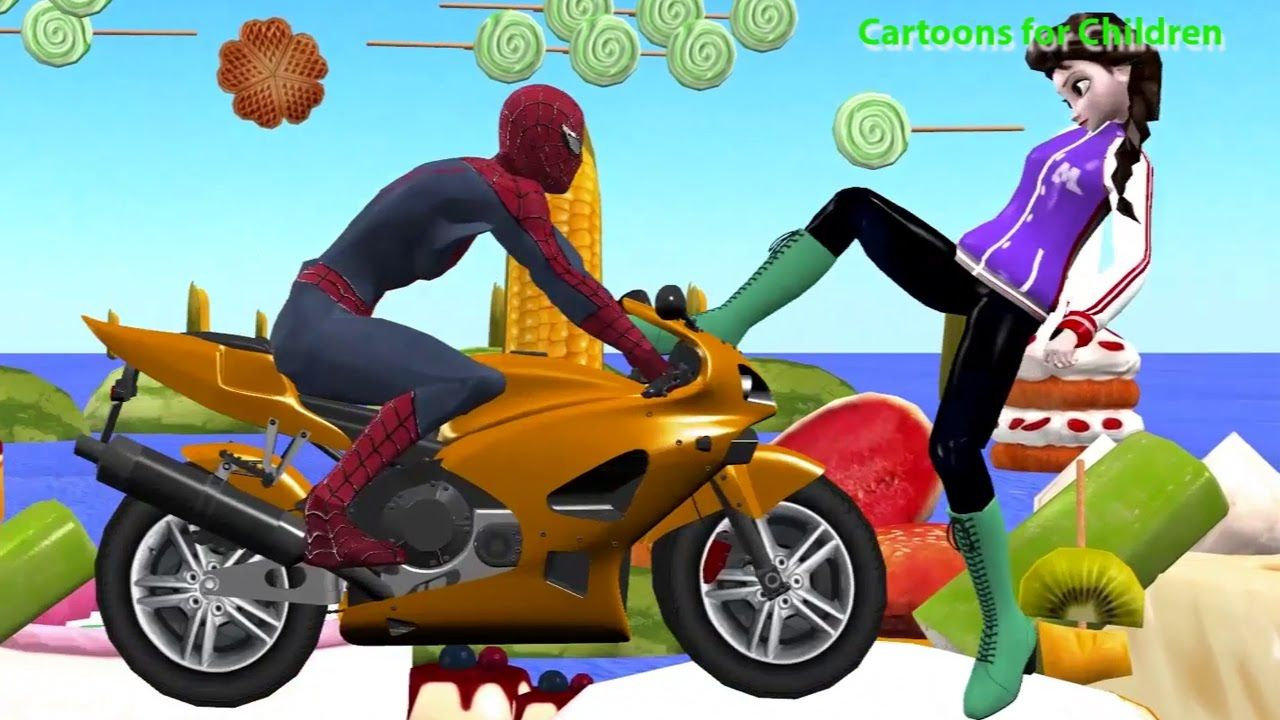 Naughty Elsa Cartoon Spider man Fights   Non Stop Action Funny Kids ...