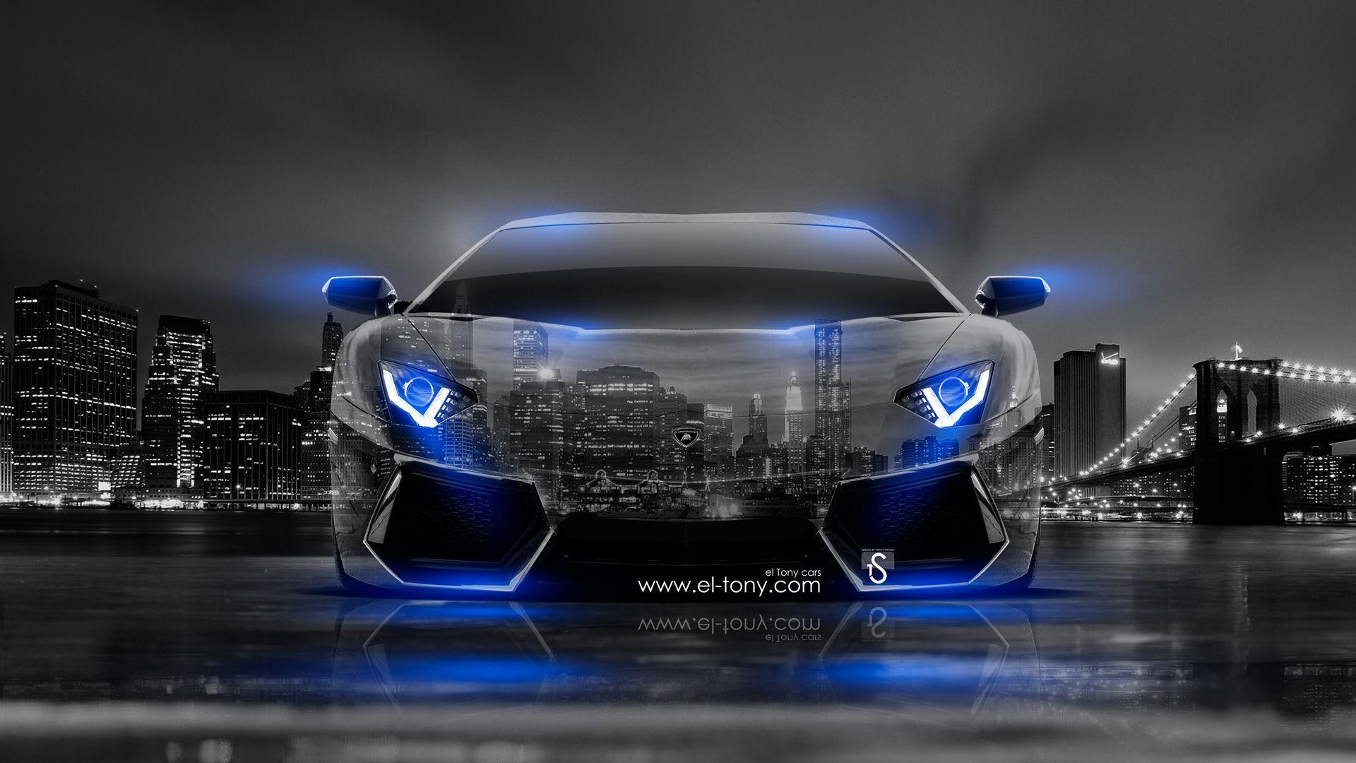 Beautiful Black Lamborghini With Neon Blue Lights Gallery