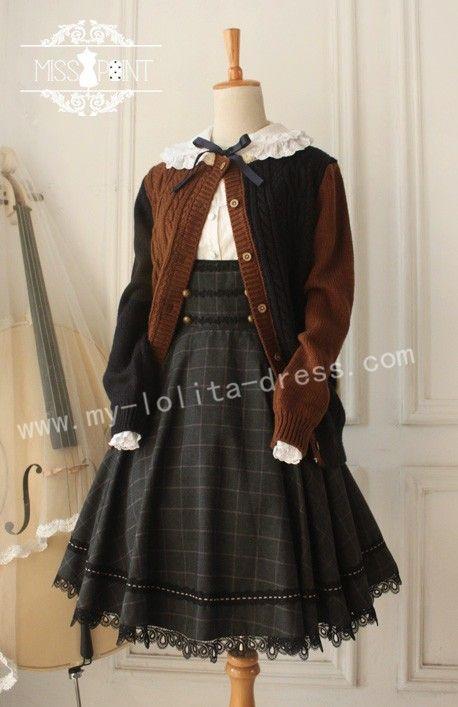 ce7db670612c94 Miss Point Collge School Style Vintage Gingham Corset JSK - My Lolita Dress