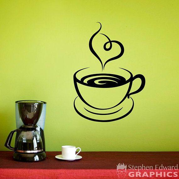 Coffee Cup Wall Decal - I Love Coffee Wall Art - Heart Steam ...