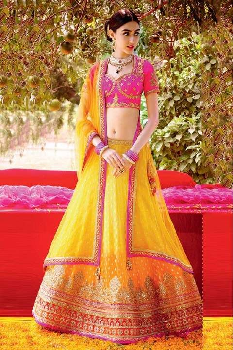Pink and yellow colour wedding dress