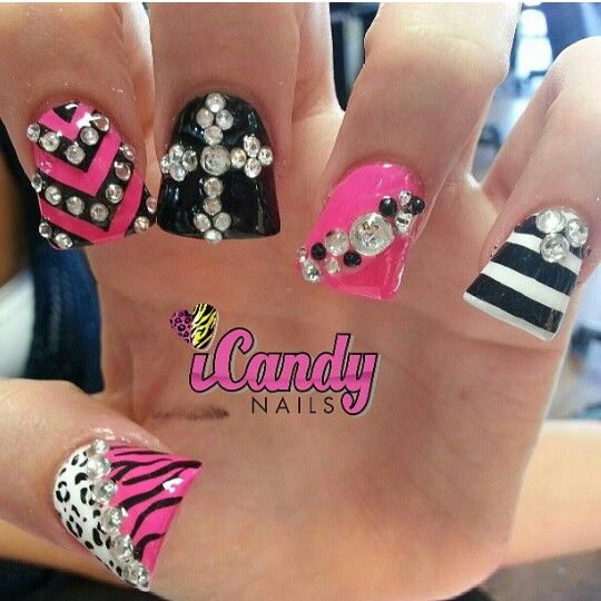 Cute Pink And Black Nails With Rhinestone Designs Bling 333