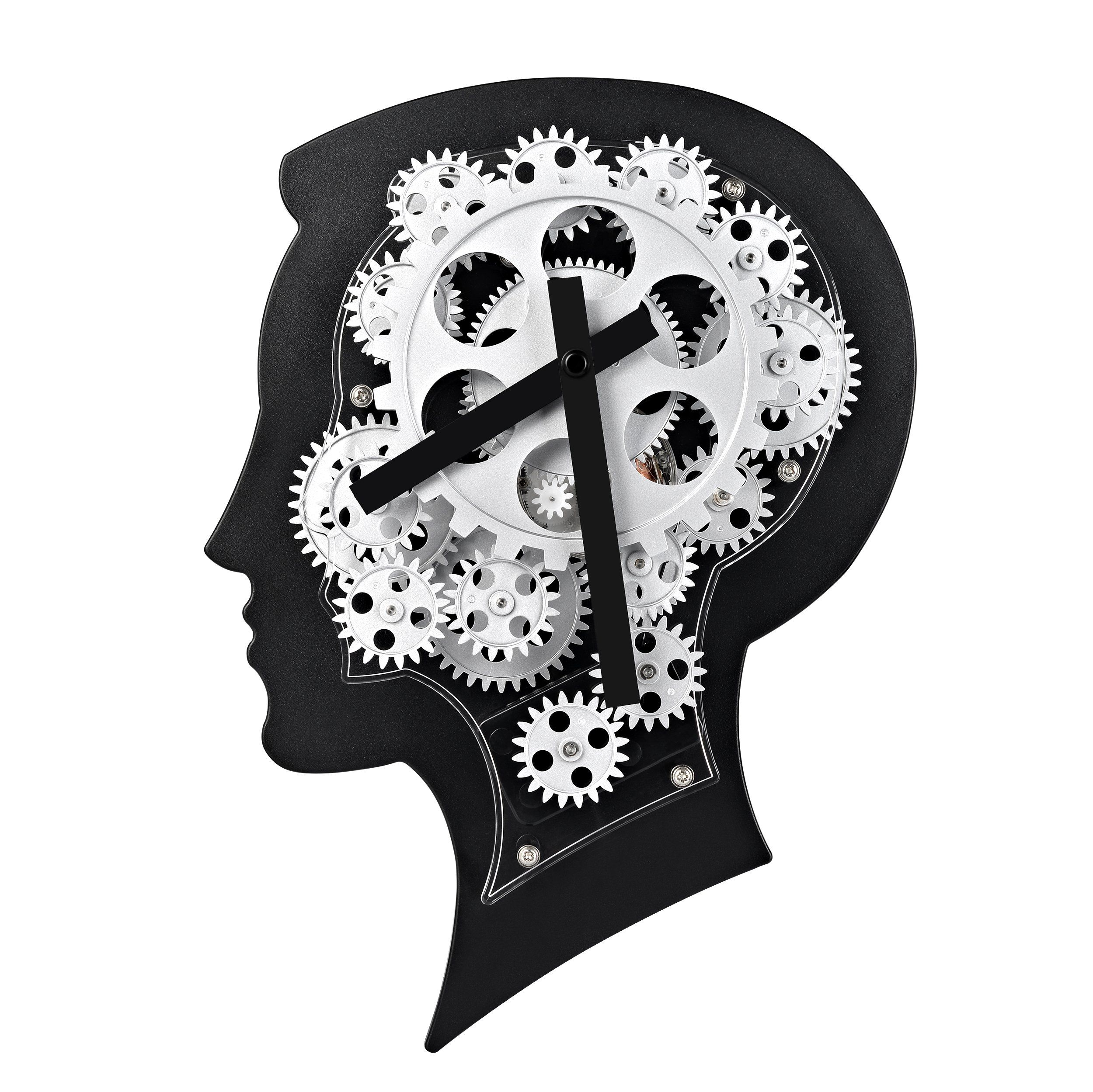 Wall Clock for Women and Men-SevenUp Gear Clock Quartz Brain 3D Wall ...