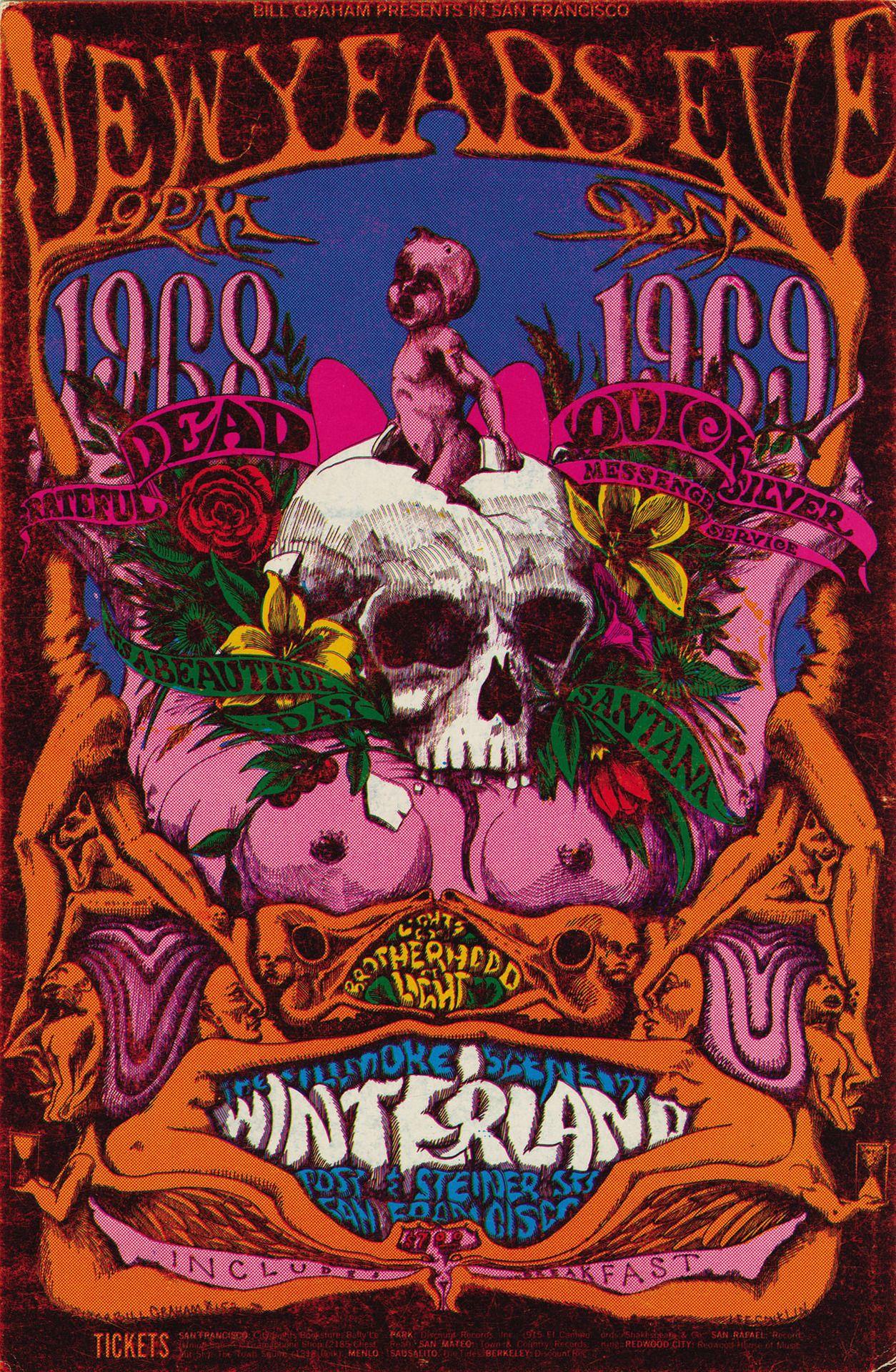Psychedelic sixties Grateful dead poster, Concert