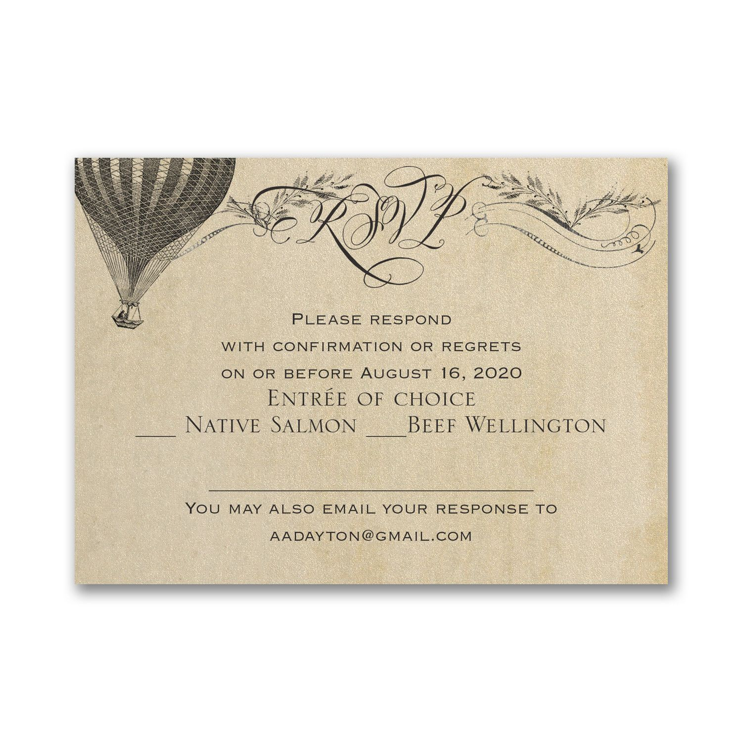 Aerial Steampunk Response Card And Envelope Steampunk Wedding Invitation Wedding Invitation Templates Modern Wedding Invitation Wording