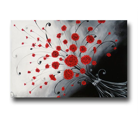 red abstract flower painting black white by heatherdaypaintings