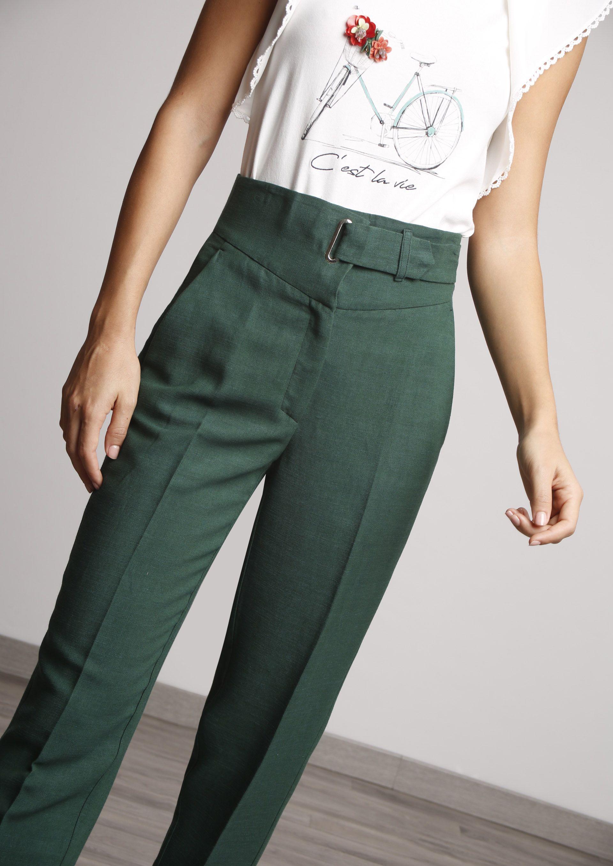 Pantalon Verde Botella Pantalones De Moda Pantalones Verdes Pantalones